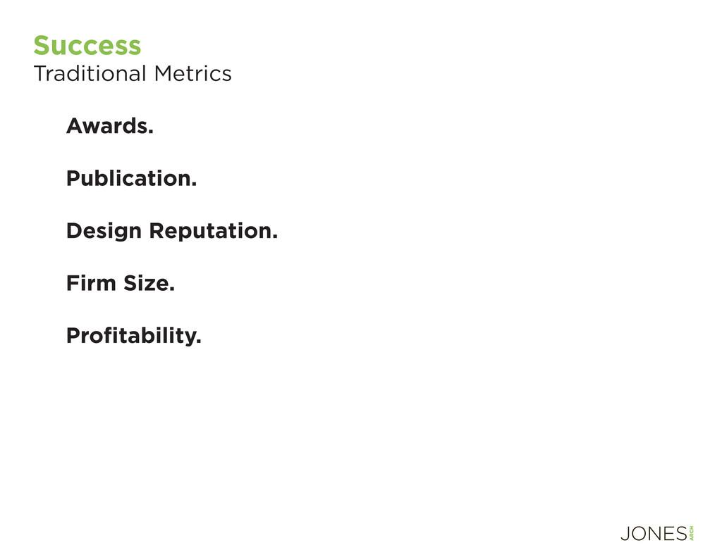 Success Traditional Metrics Awards. Publication...