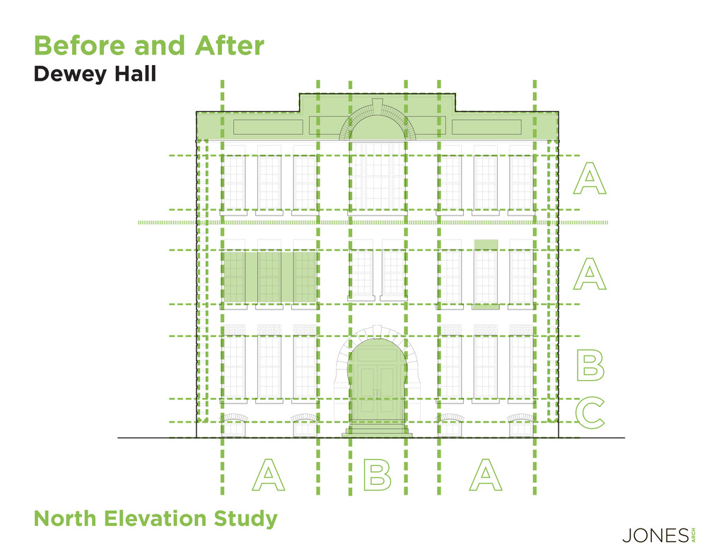 North Elevation Study Before and After Dewey Ha...