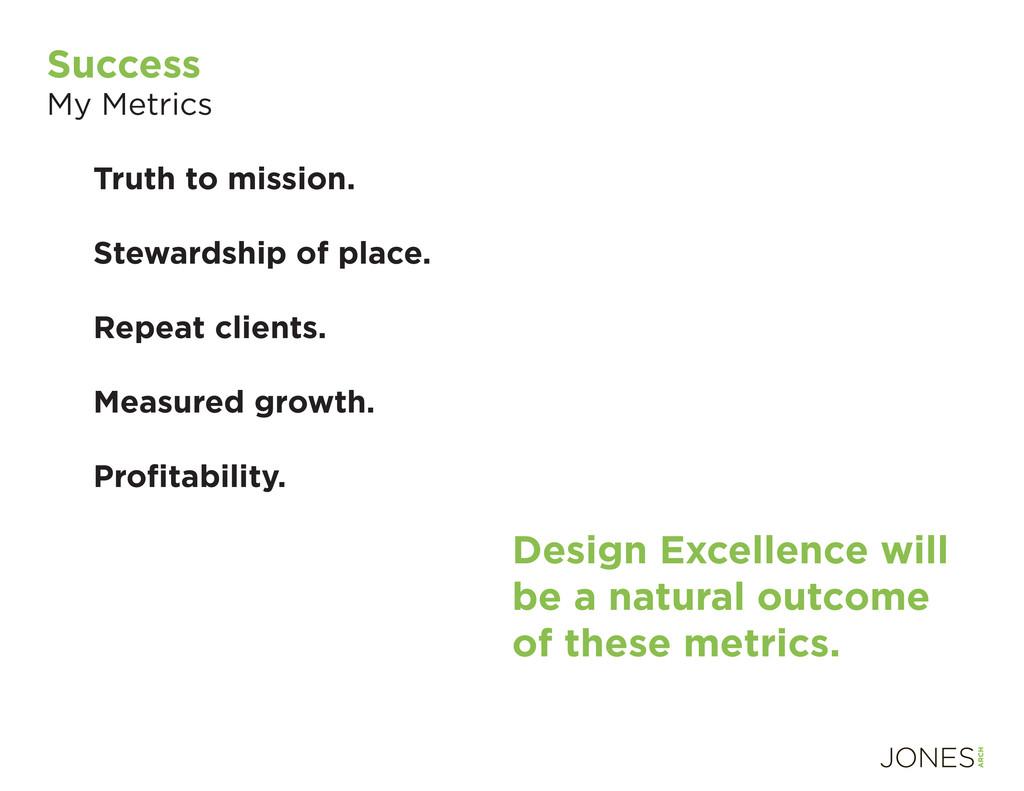 Success My Metrics Truth to mission. Stewardshi...