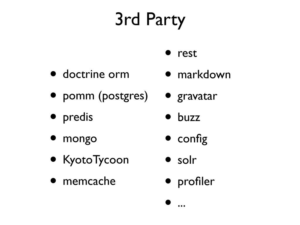 3rd Party • doctrine orm • pomm (postgres) • pr...