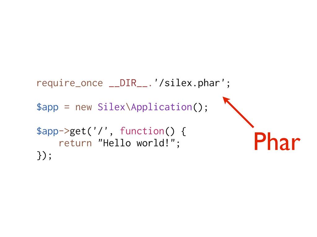 Phar require_once __DIR__.'/silex.phar'; $app =...