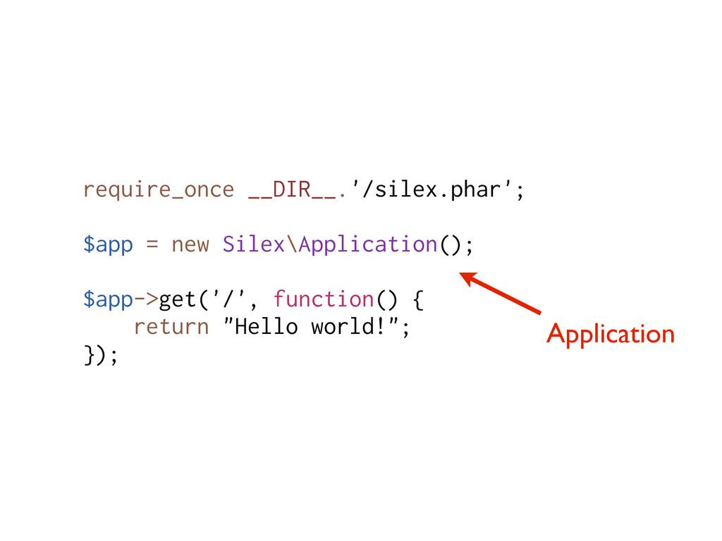 Application require_once __DIR__.'/silex.phar';...
