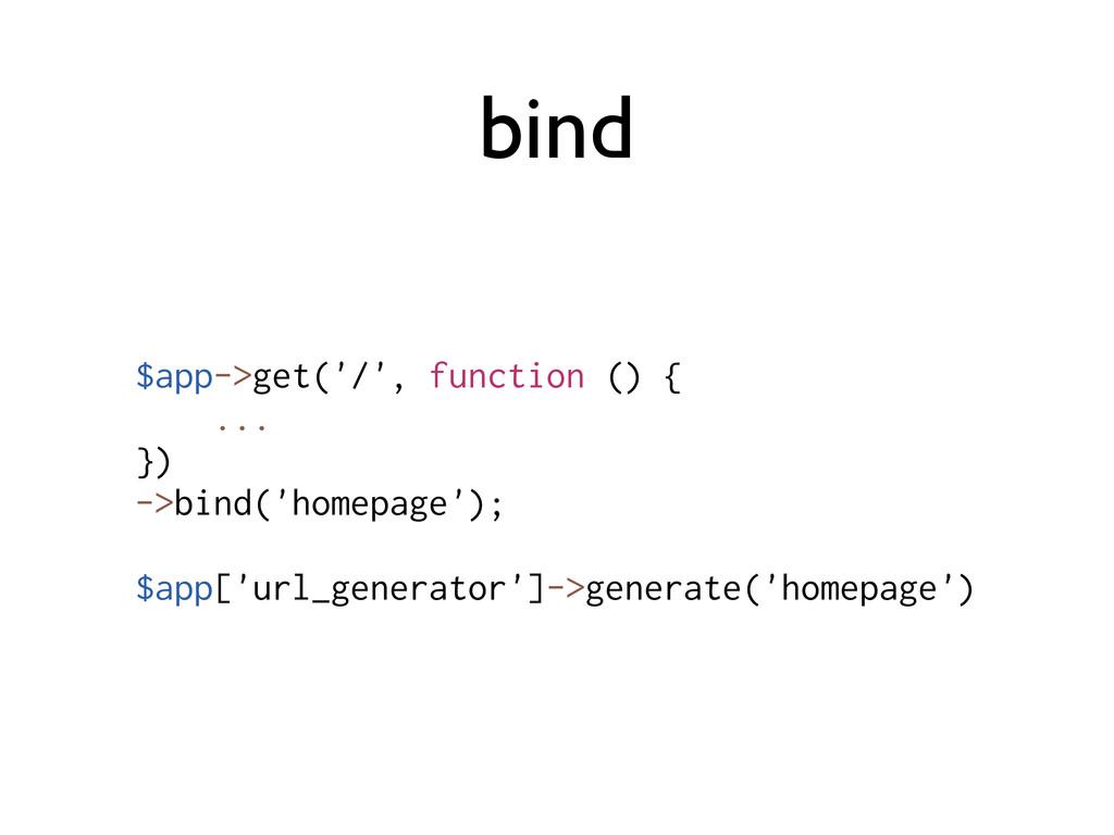 bind $app->get('/', function () { ... }) ->bind...