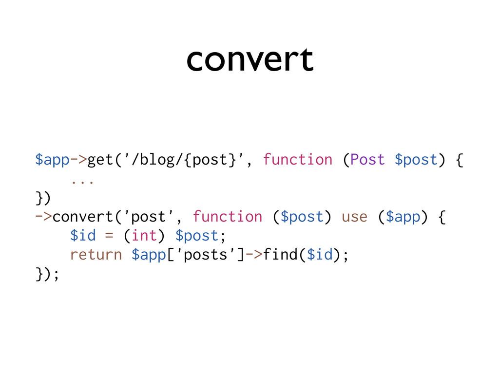 convert $app->get('/blog/{post}', function (Pos...