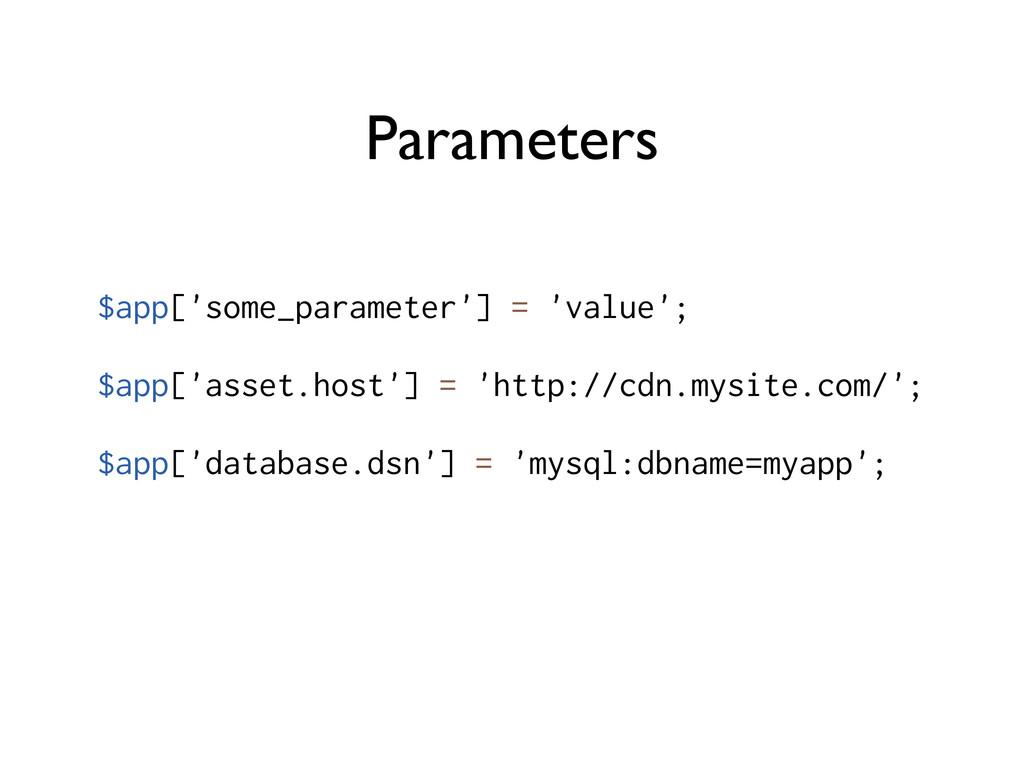 Parameters $app['some_parameter'] = 'value'; $a...