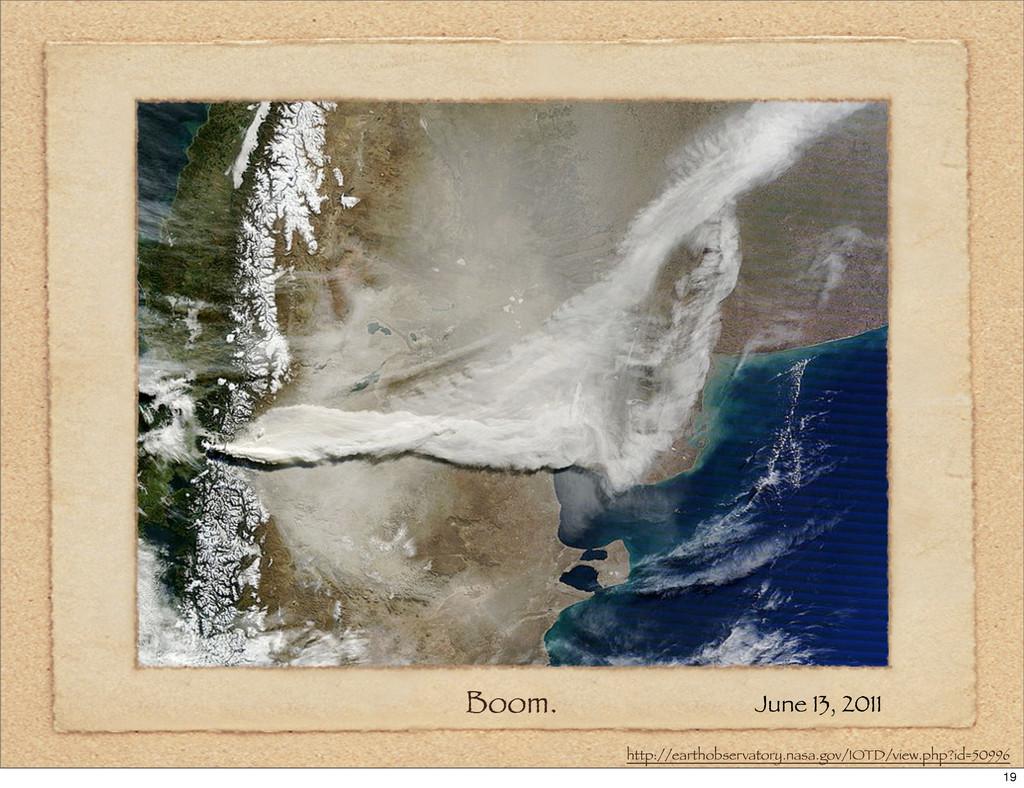 Boom. June 13, 2011 http://earthobservatory.nas...