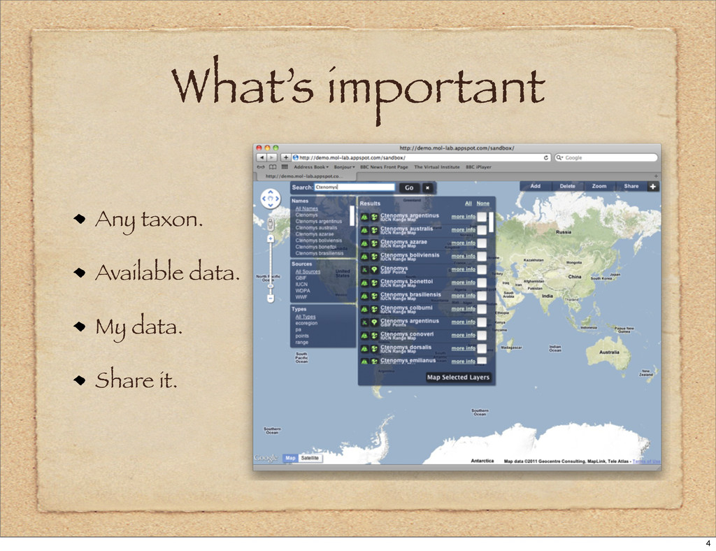 What's important Any taxon. Available data. My ...