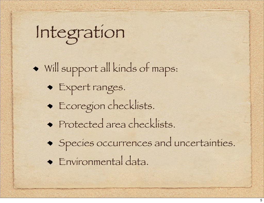 Integration Will support all kinds of maps: Exp...