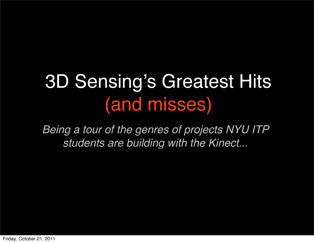 3D Sensing's Greatest Hits (and misses) Being a...