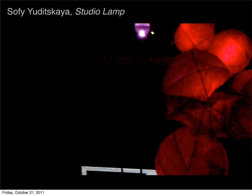 Sofy Yuditskaya, Studio Lamp Friday, October 21...