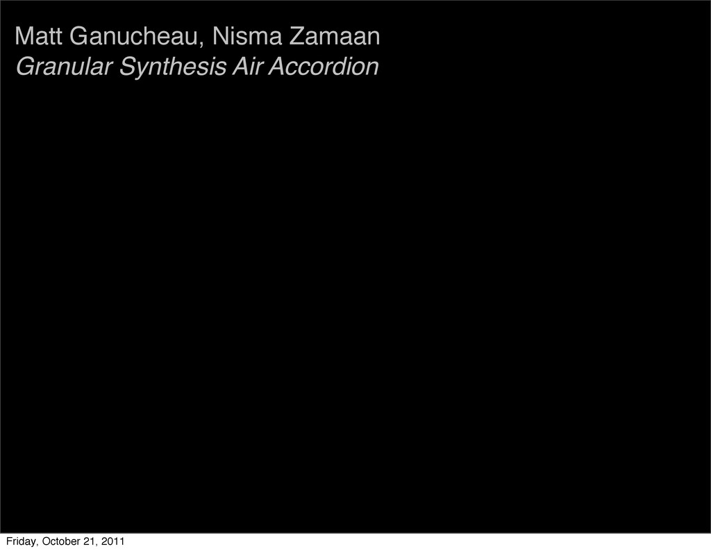 Matt Ganucheau, Nisma Zamaan Granular Synthesis...