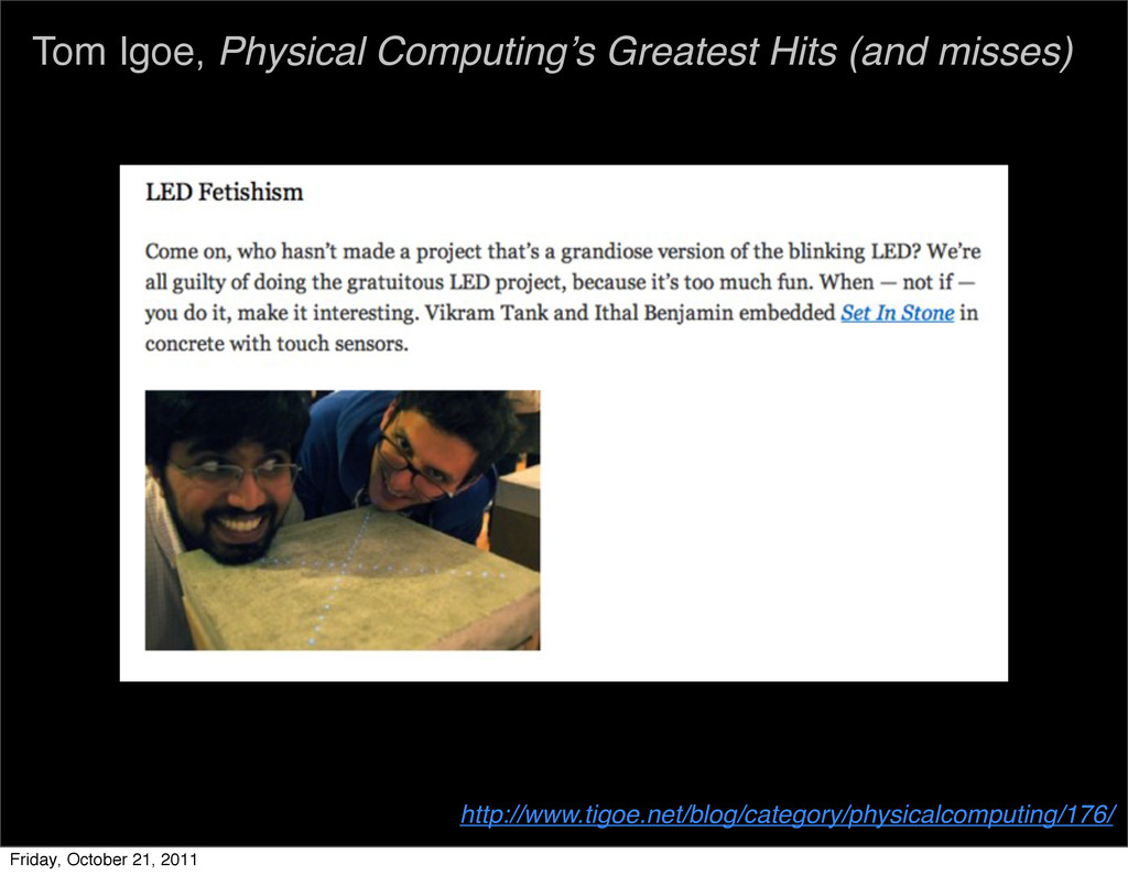 Tom Igoe, Physical Computing's Greatest Hits (a...