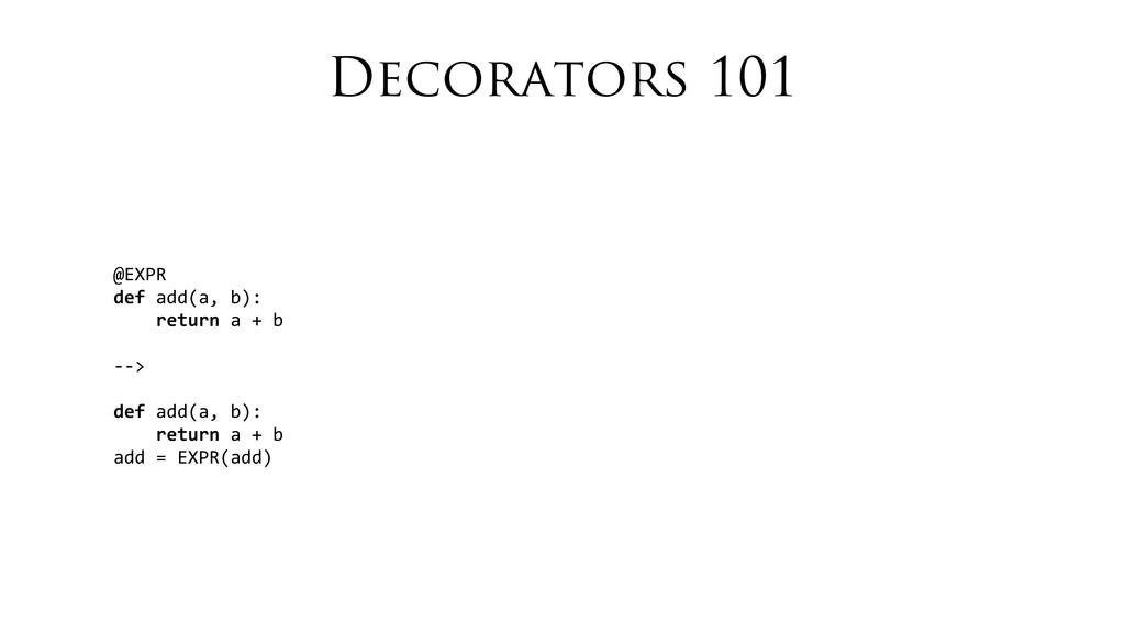 Decorators 101 @EXPR def add(a, b):  ...