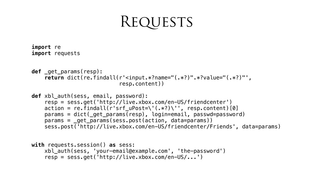 Requests import re import requests def _get_par...