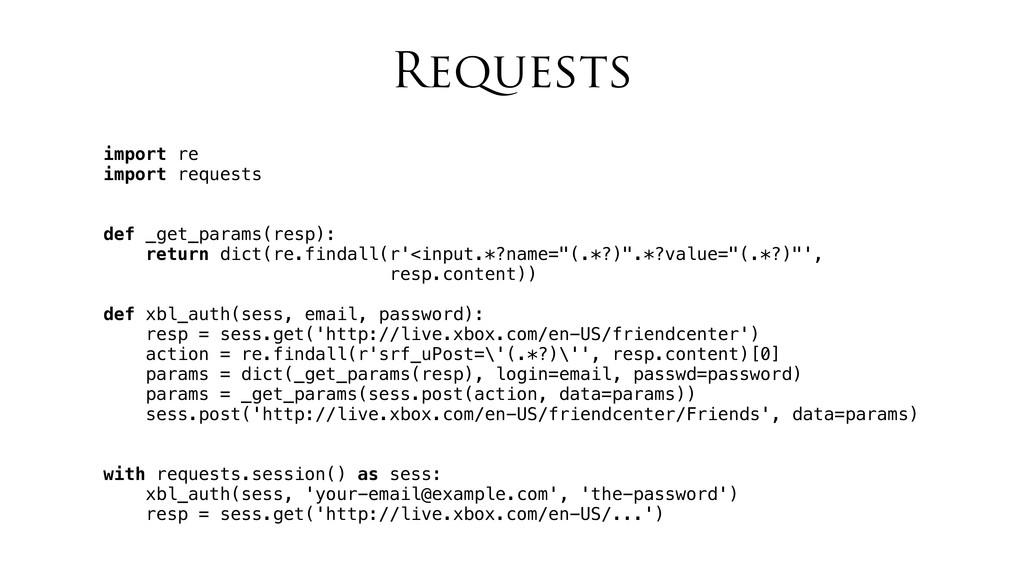 Requests import re import requests def _get_par...