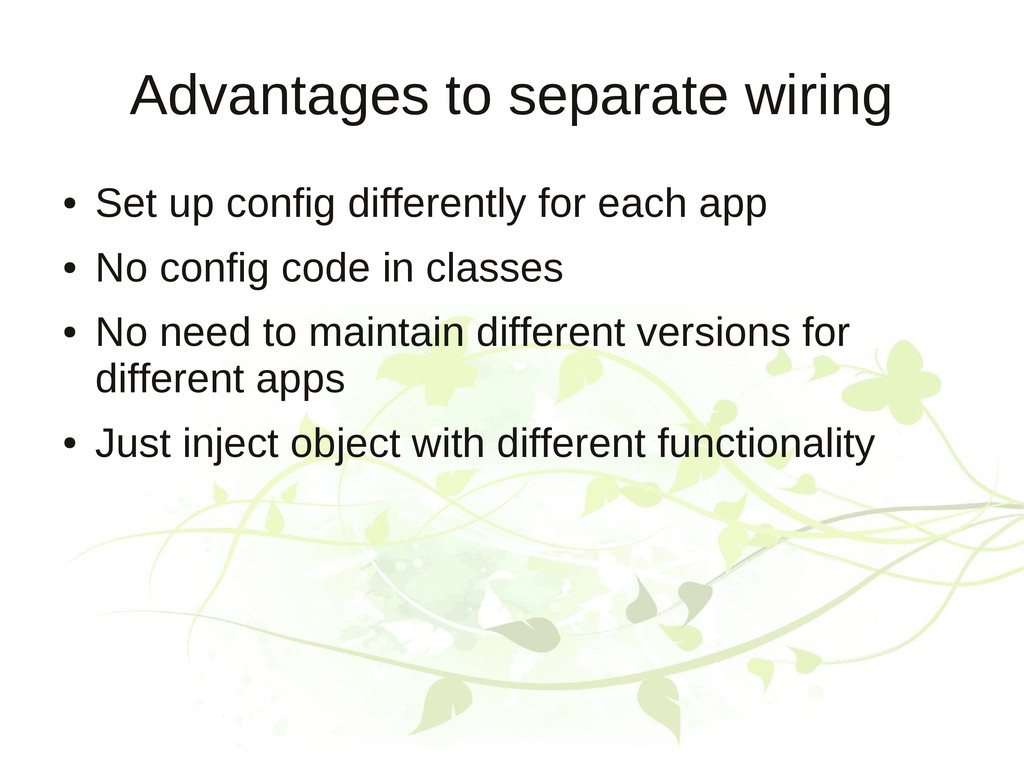 Advantages to separate wiring ● Set up config d...