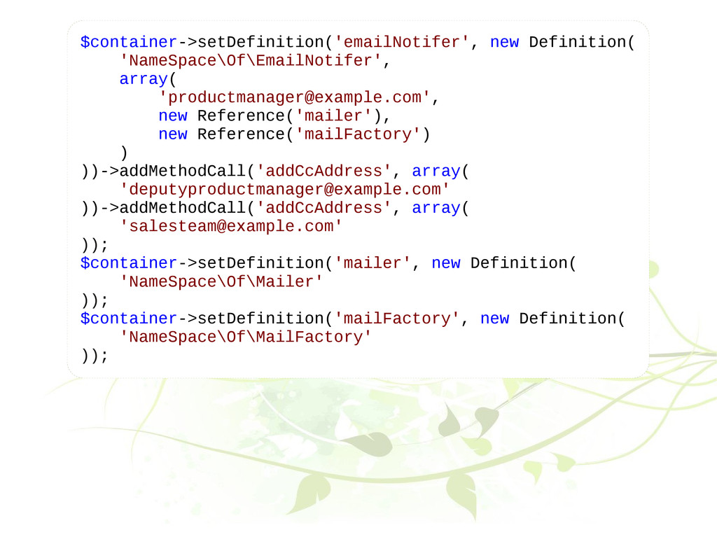 $container->setDefinition('emailNotifer', new D...