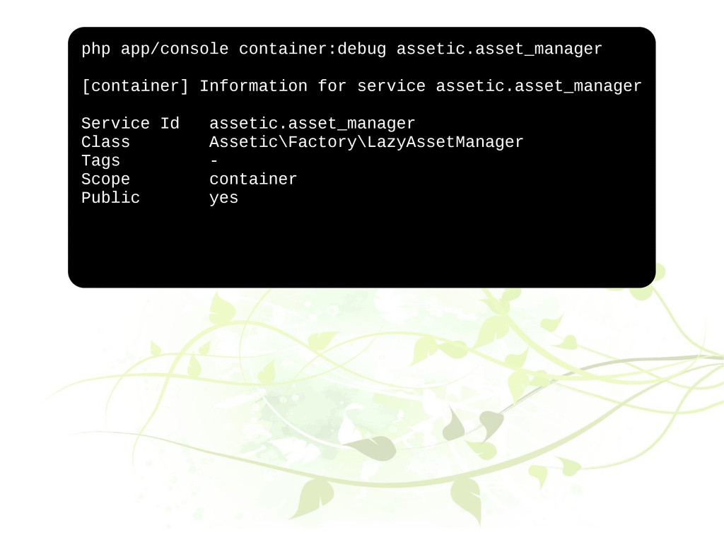 php app/console container:debug assetic.asset_m...