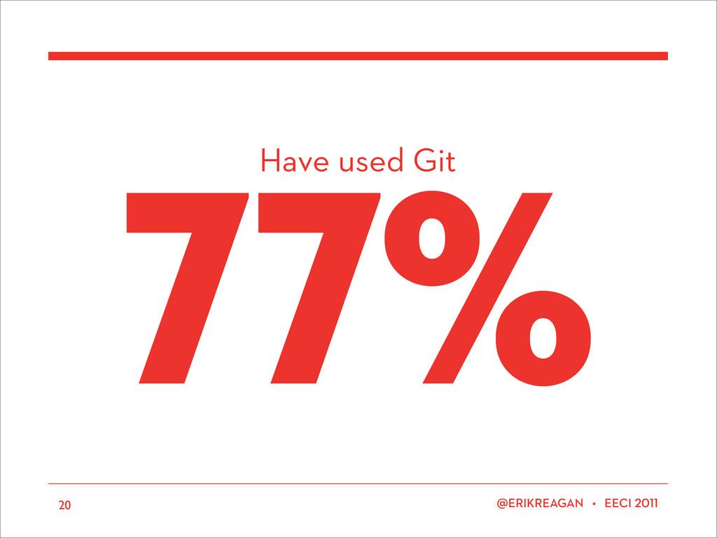 Have used Git ERIKREAGAN • EECI 77% 20