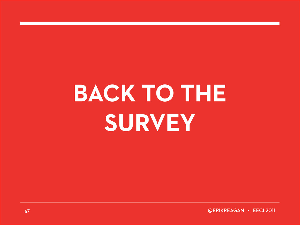 ERIKREAGAN • EECI BACK TO THE SURVEY 67