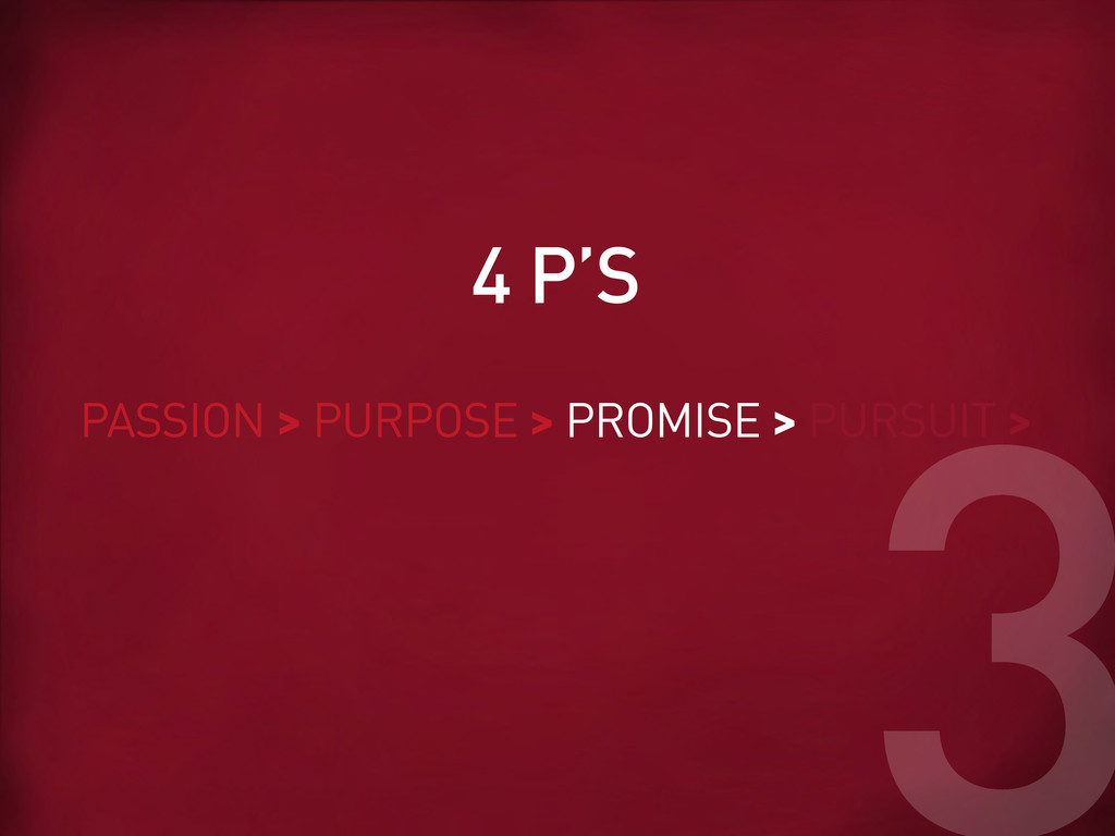 PASSION > PURPOSE > PROMISE > PURSUIT > 4 P'S 3