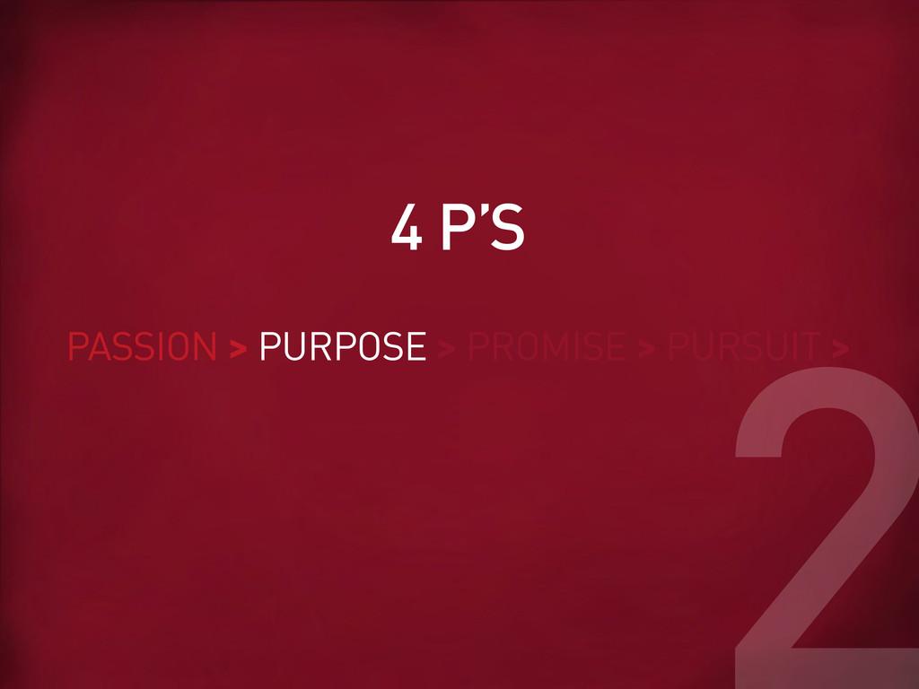 PASSION > PURPOSE > PROMISE > PURSUIT > 4 P'S 2
