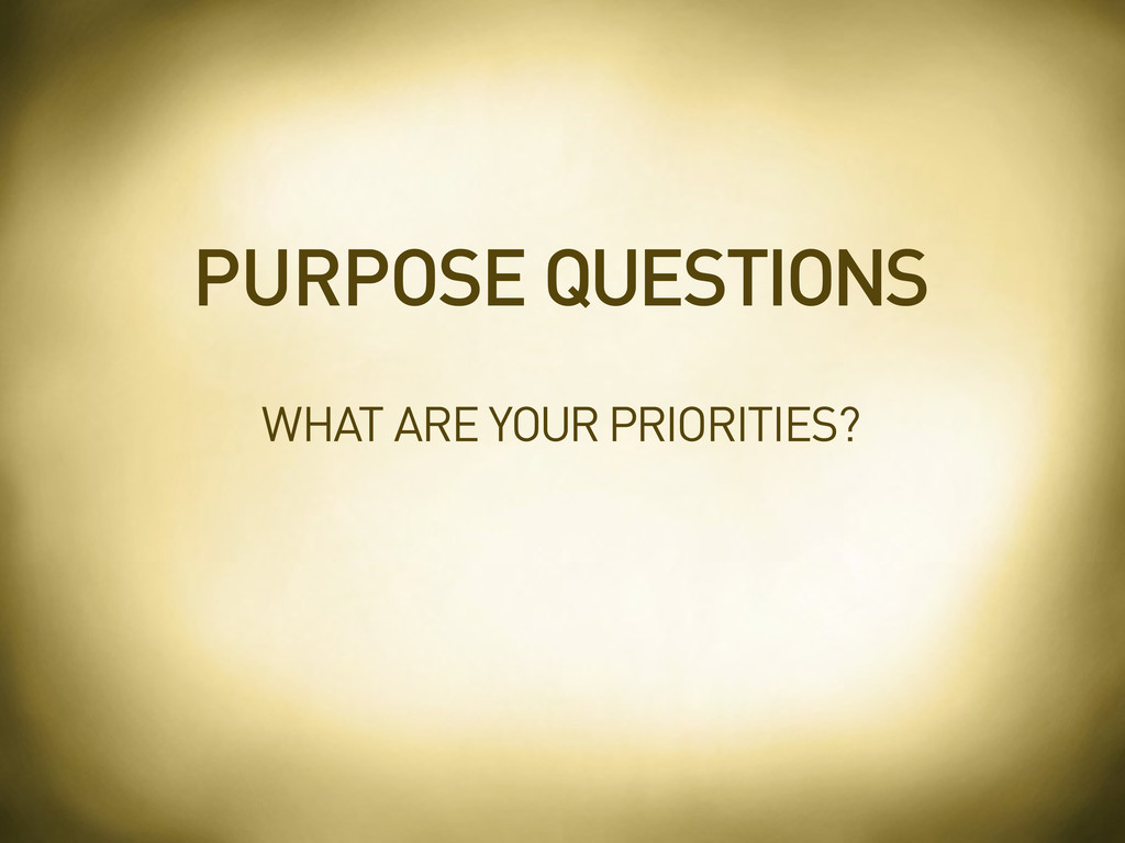 WHAT ARE YOUR PRIORITIES? PURPOSE QUESTIONS