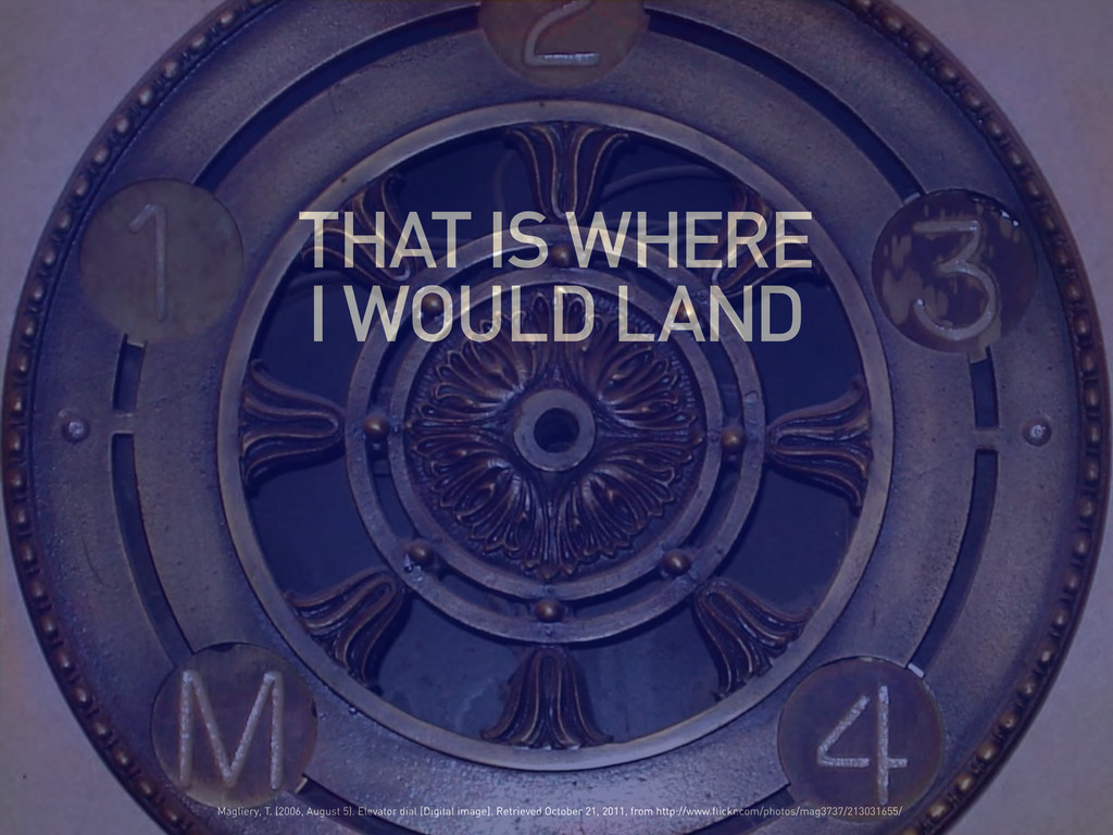 THAT IS WHERE I WOULD LAND Magliery, T. (2006, ...