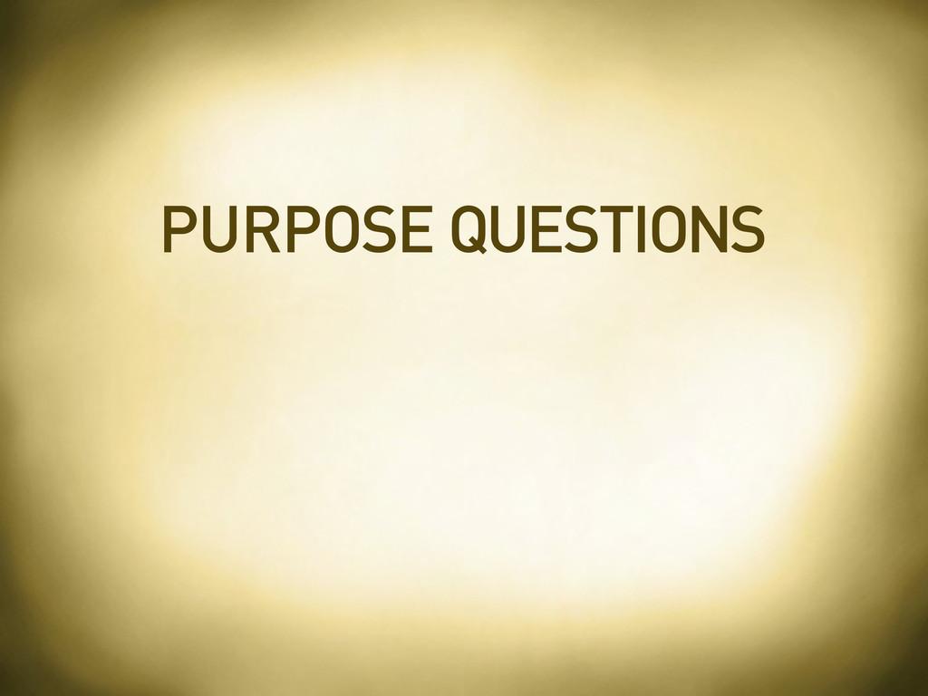 PURPOSE QUESTIONS