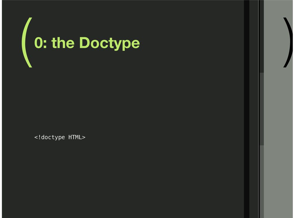( ) 0: the Doctype <!doctype HTML>