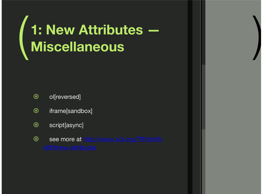 ( ) 1: New Attributes — Miscellaneous ol[revers...