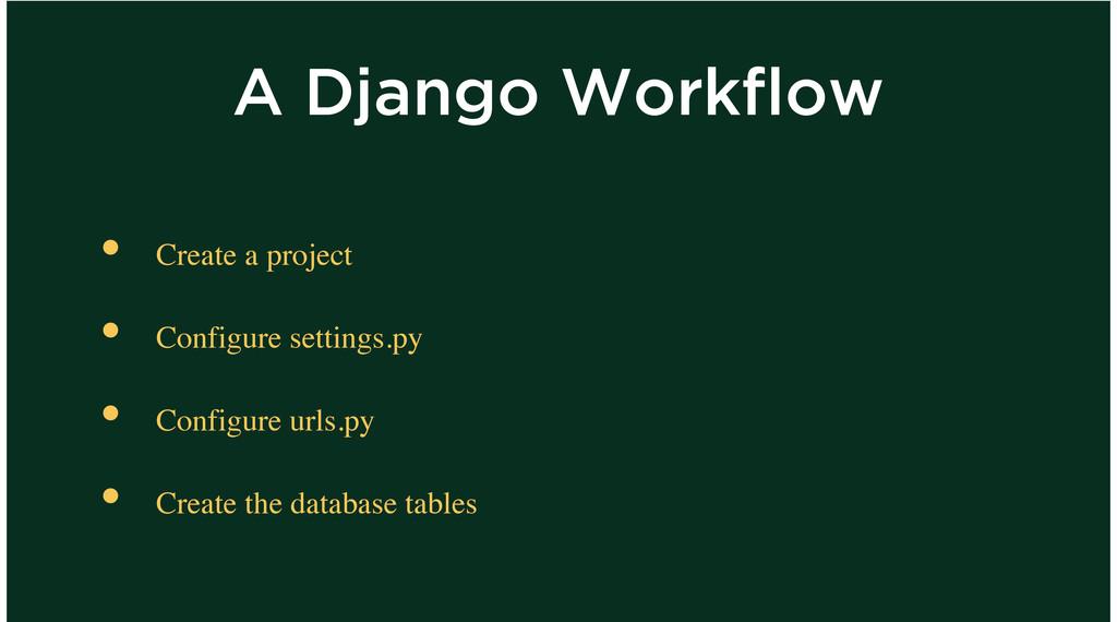 A Django Workflow Create a project Configure se...