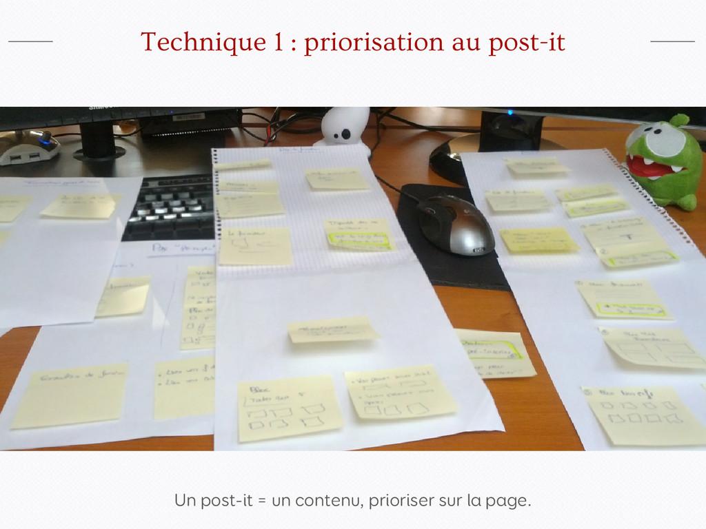Un post-it = un contenu, prioriser sur la page....
