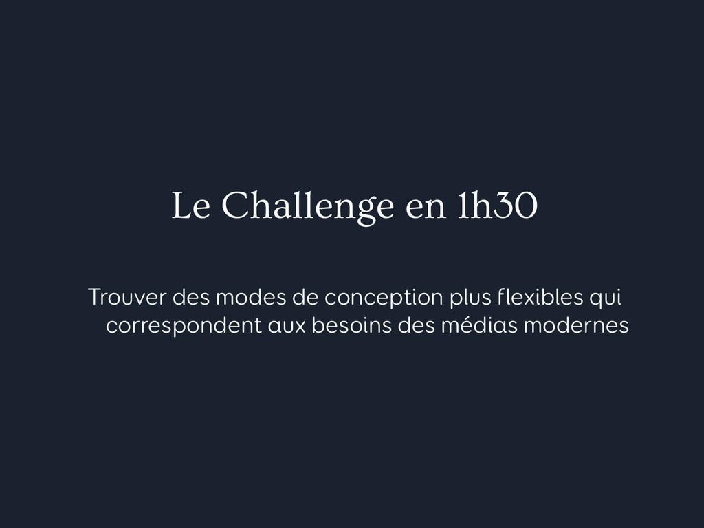 Le Challenge en 1h30 Trouver des modes de conce...