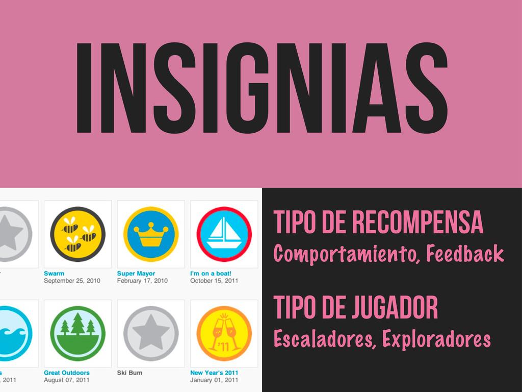 INSIGNIAS Tipo de Recompensa Comportamiento, Fe...