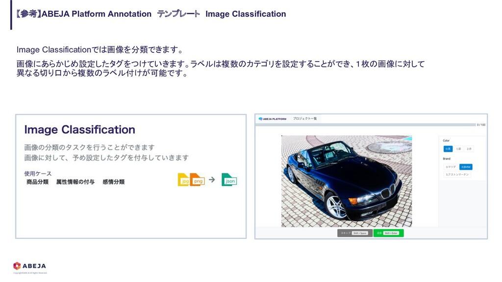 Image Classificationでは画像を分類できます。 画像にあらかじめ設定したタグ...