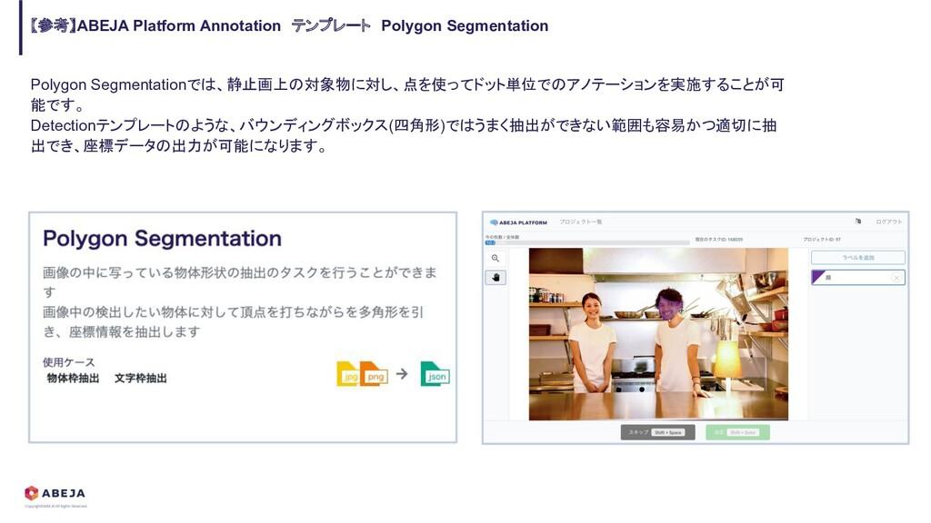 Polygon Segmentationでは、静止画上の対象物に対し、点を使ってドット単位での...