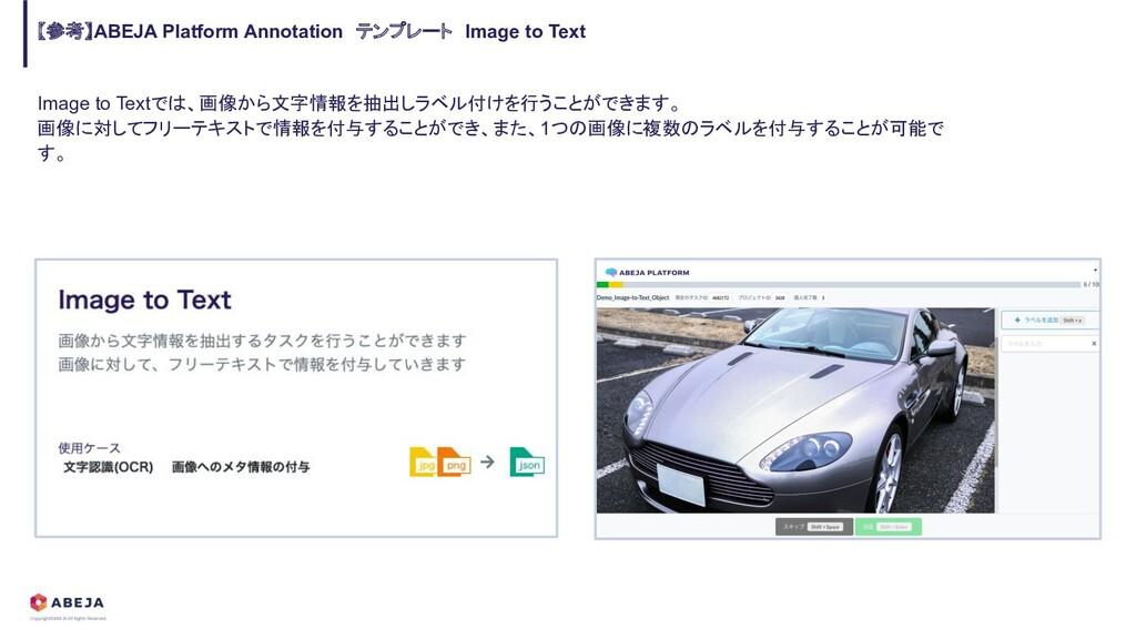 Image to Textでは、画像から文字情報を抽出しラベル付けを行うことができます。 画像...
