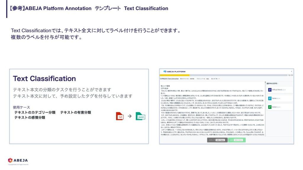Text Classificationでは、テキスト全文に対してラベル付けを行うことができます...