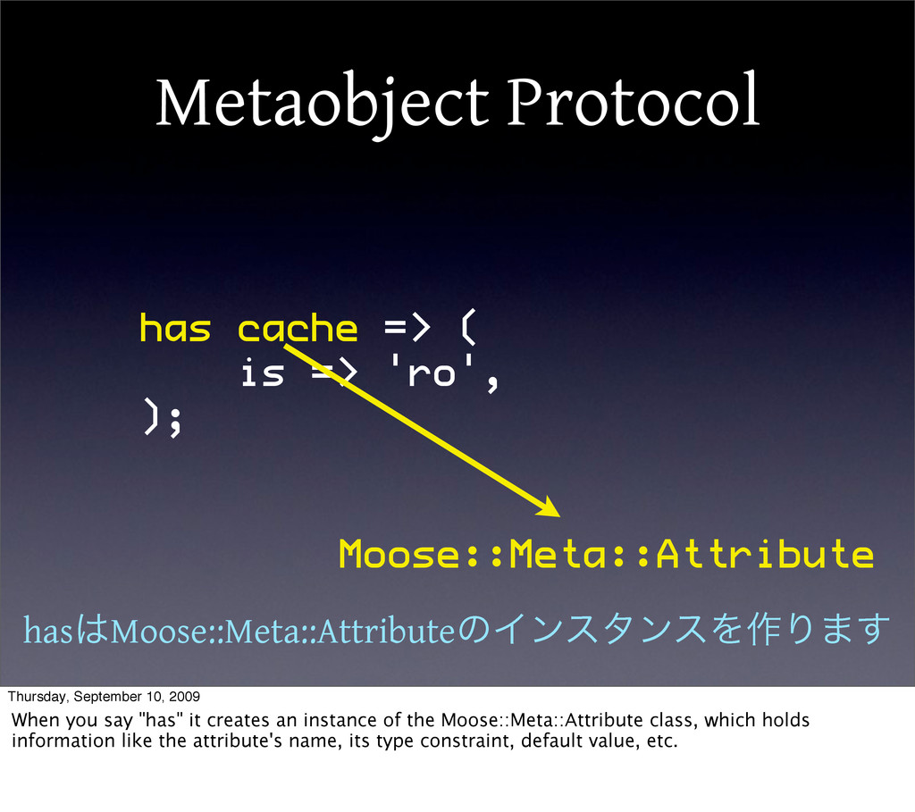 Metaobject Protocol has cache => ( is => 'ro', ...