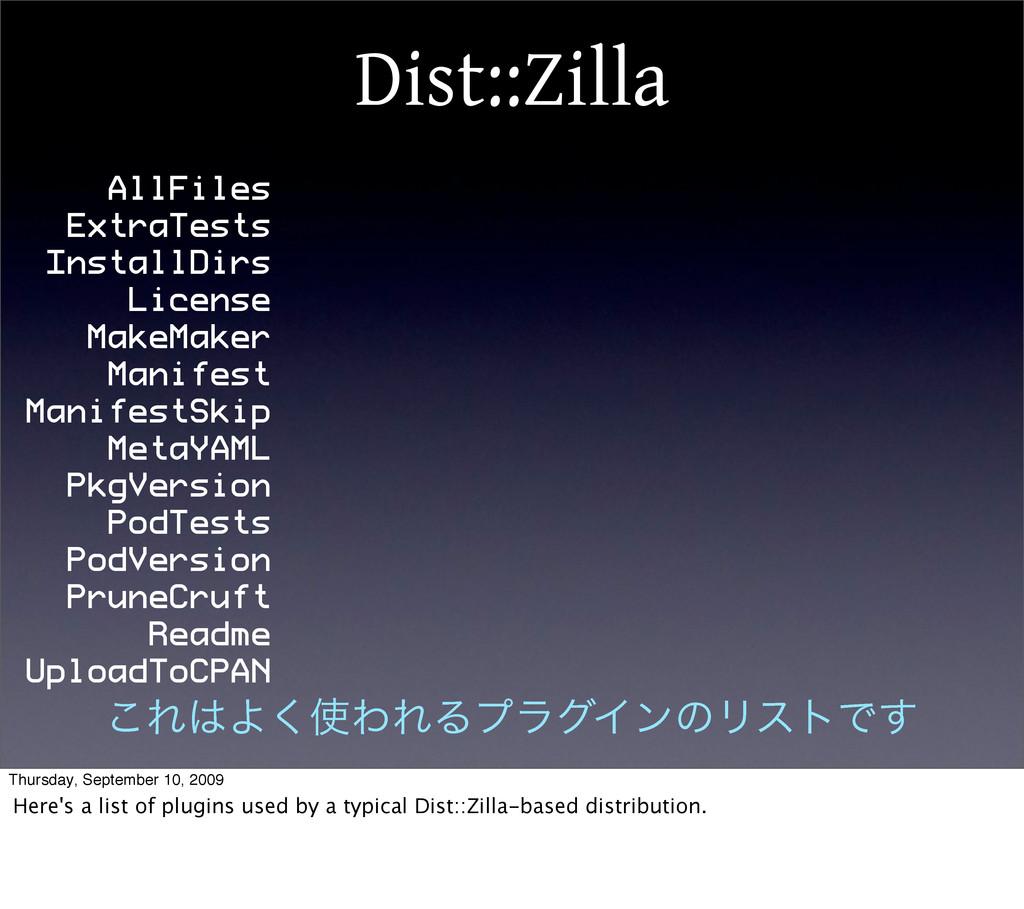 Dist::Zilla AllFiles ExtraTests InstallDirs Lic...
