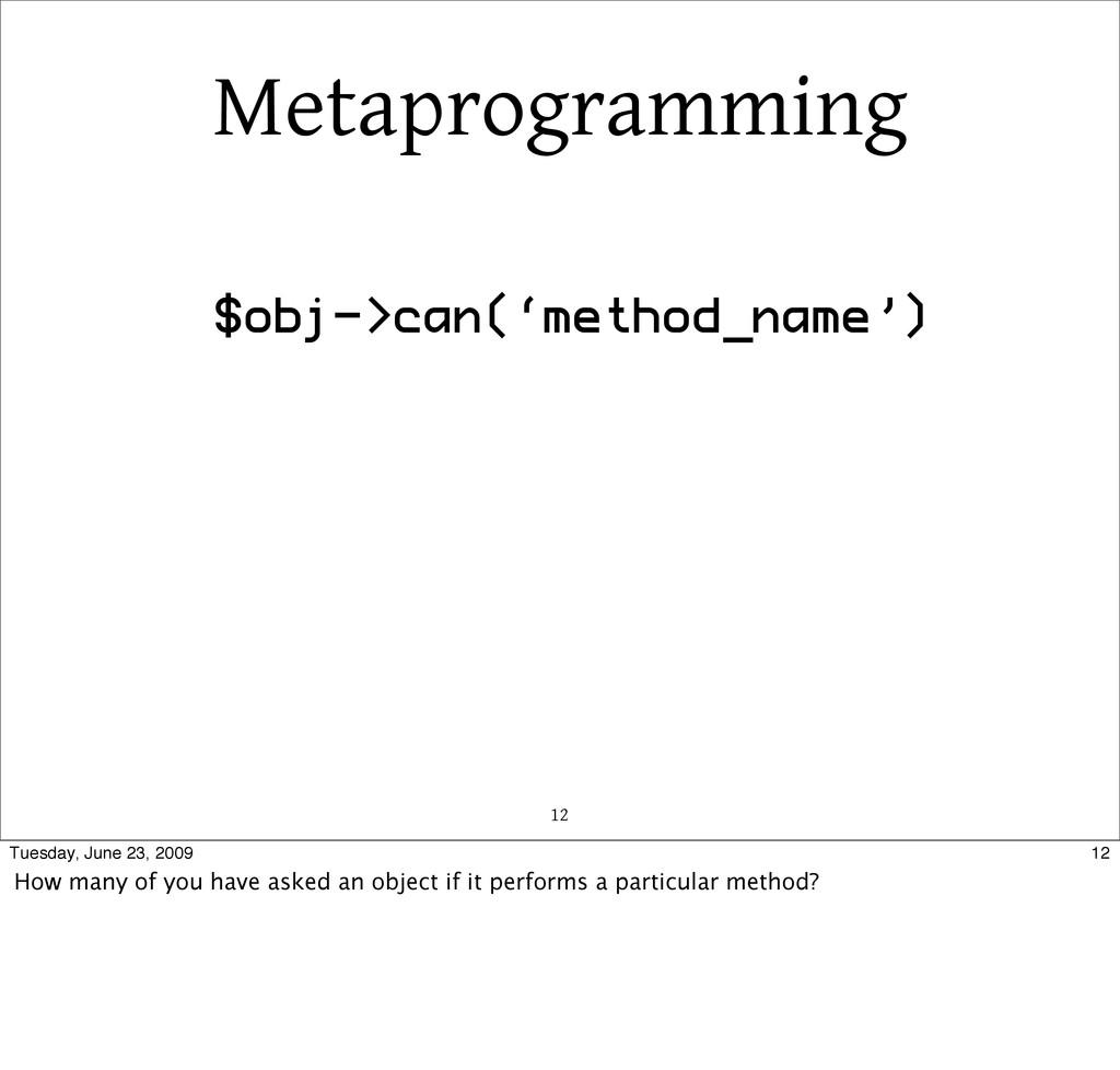 Metaprogramming 12 $obj->can('method_name') 12 ...