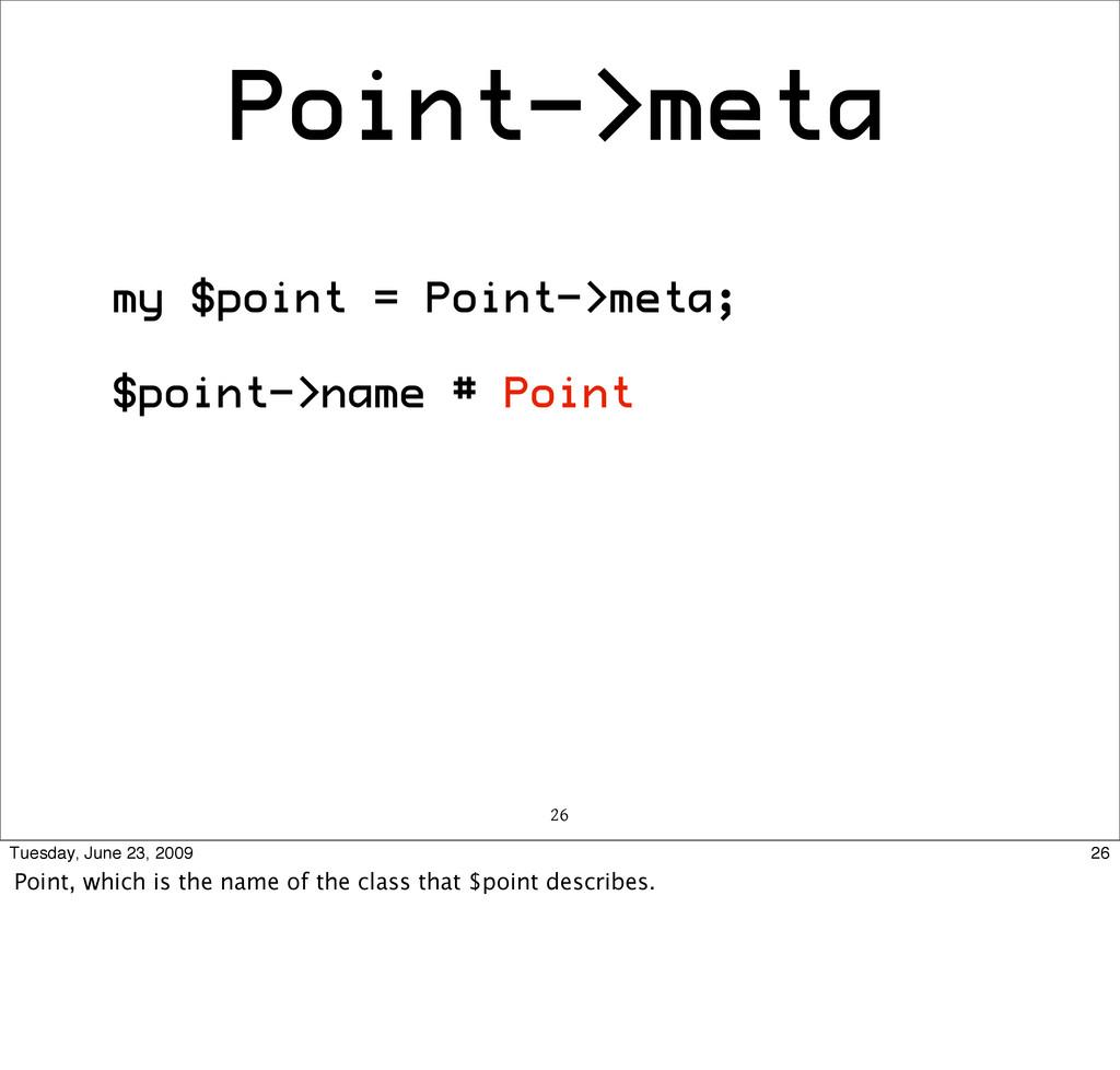 Point->meta my $point = Point->meta; $point->na...