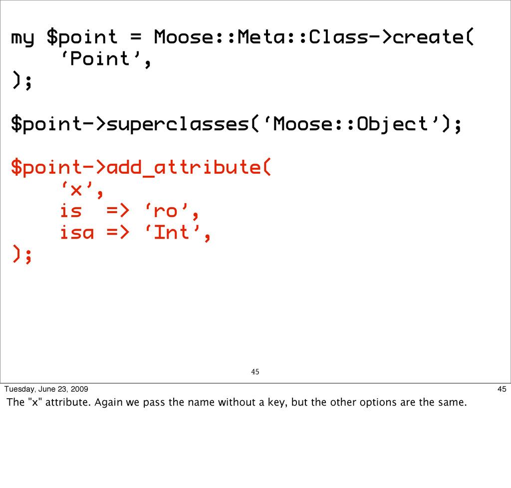 my $point = Moose::Meta::Class->create( 'Point'...