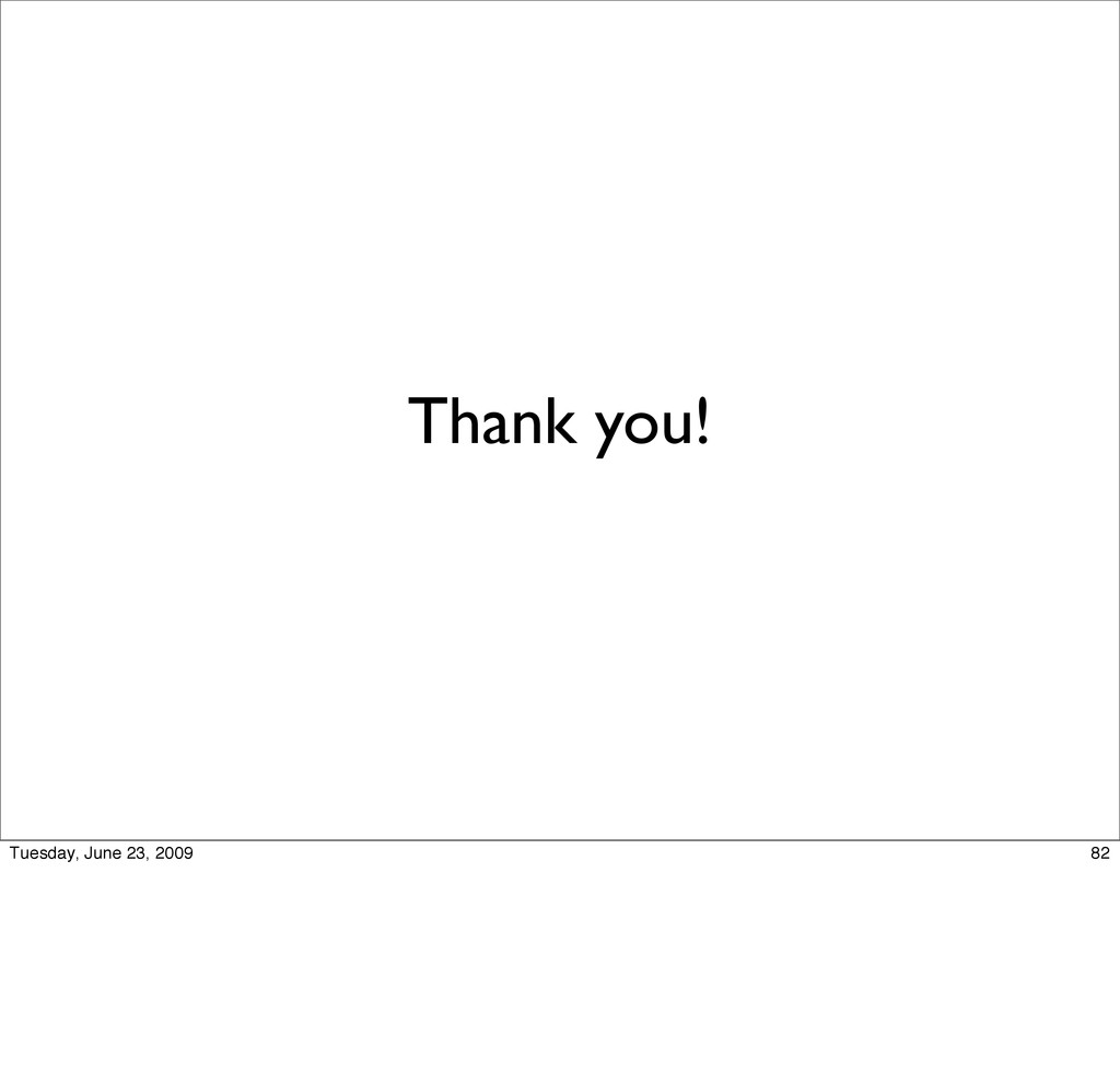 Thank you! 82 Tuesday, June 23, 2009