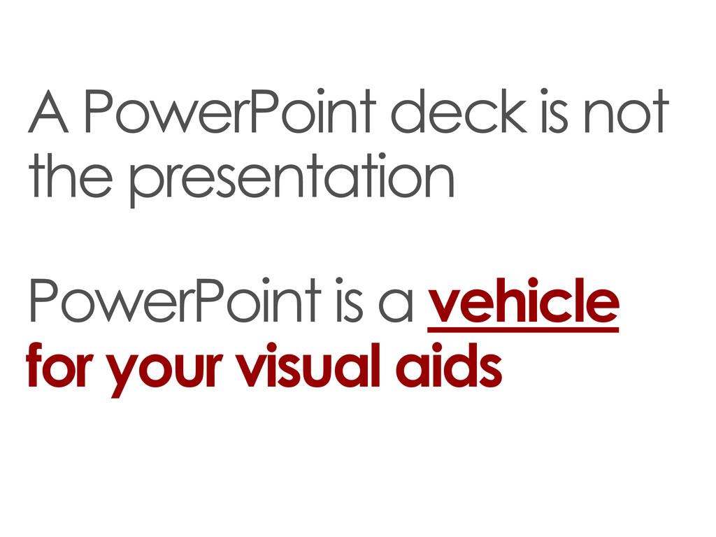 A PowerPoint deck is not the presentation Power...