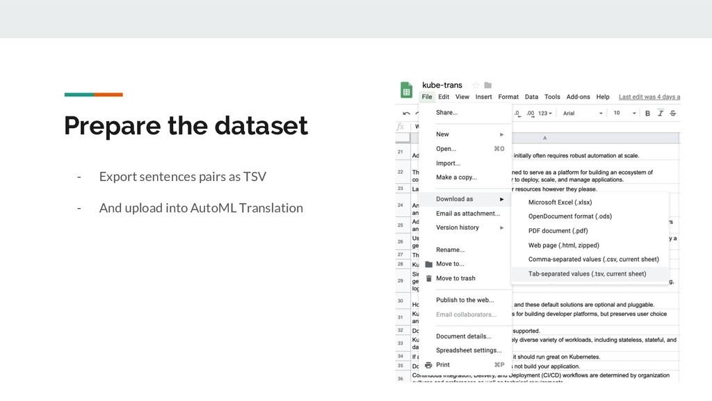 Prepare the dataset - Export sentences pairs as...