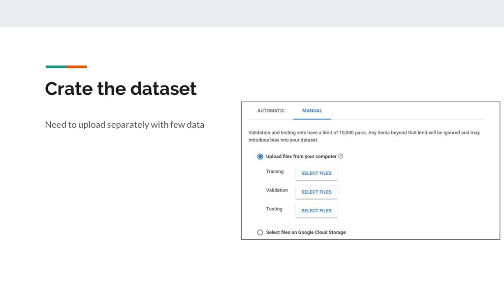 Crate the dataset Need to upload separately wit...