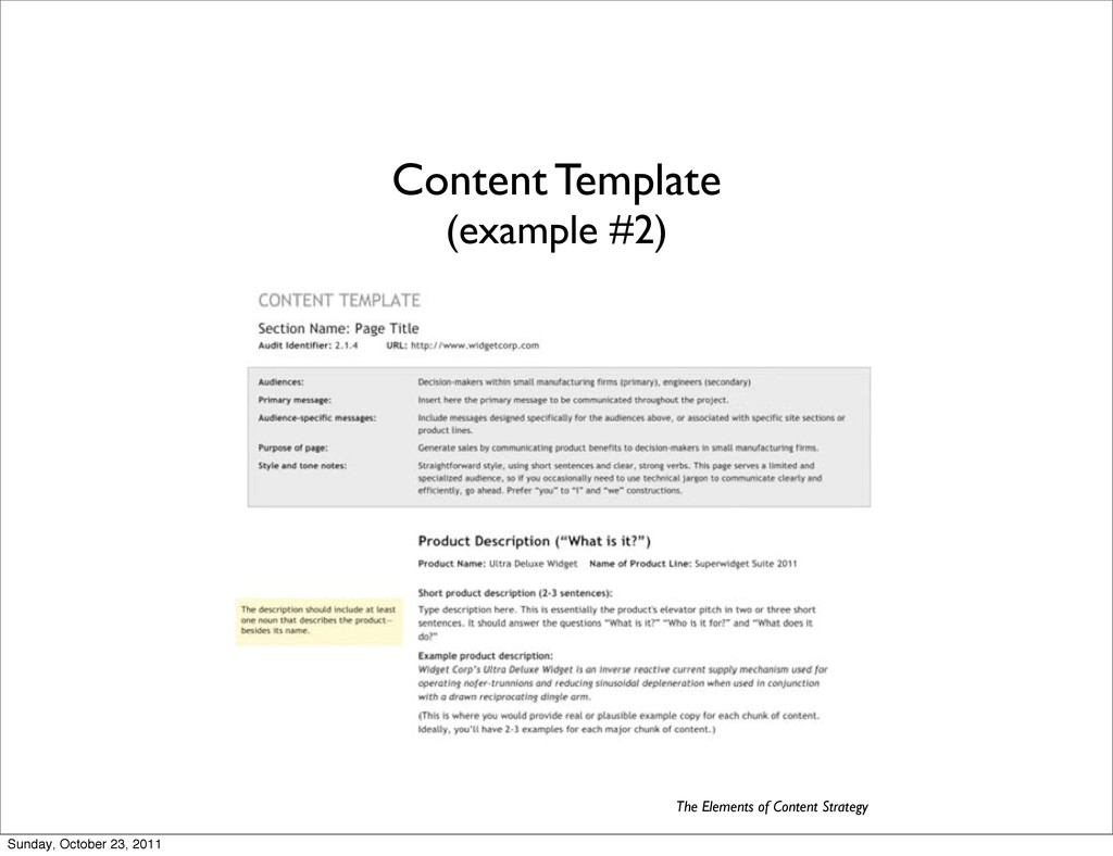 Content Template (example #2) The Elements of C...
