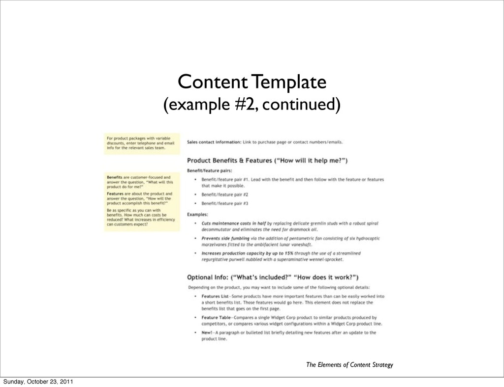 Content Template (example #2, continued) The El...